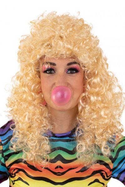 Pruik lang krullend blond haar