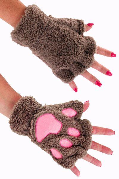 Vingerloze handschoenen pluche bruine berenpootje