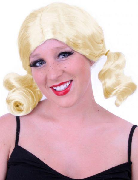 Blonde damespruik met staartjes