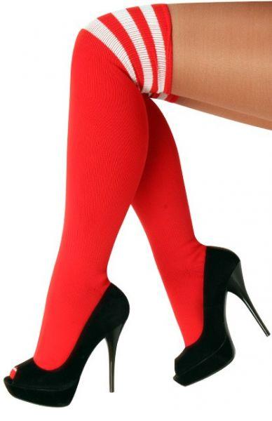 Lange kniekousen rood met 3 witte strepen