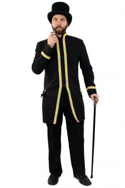 LED jas voor heren carnavalsjas met goud biezen
