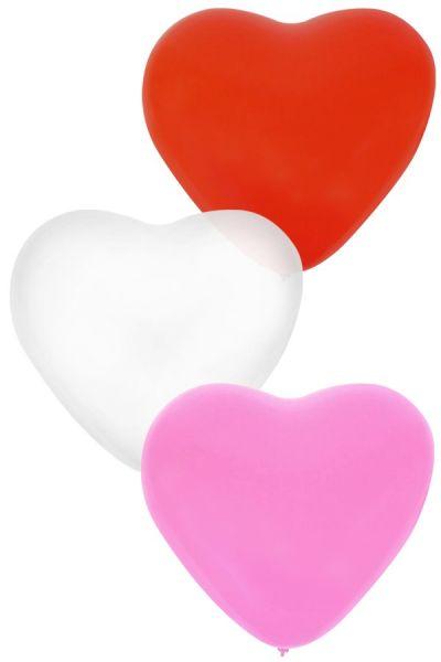 Ballon Hart x 36 Rood Wit Roze 32 cm