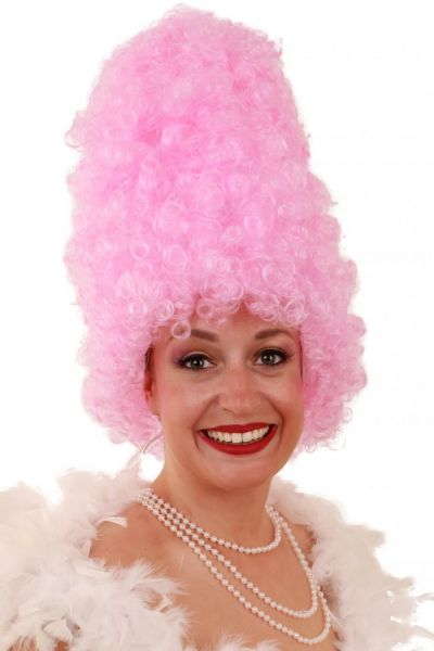 Grappige pruik Curly hoog roze