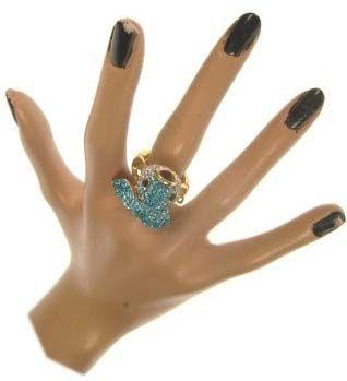 Luxe ring met blauwe vis verstelbaar