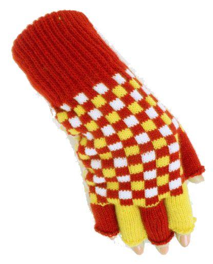 Vingerloze handschoenen rood wit geel geblokt