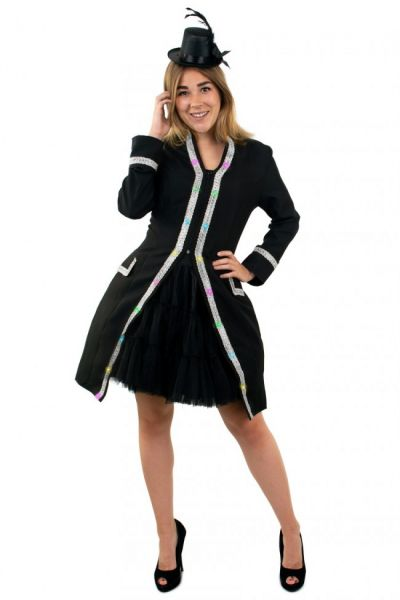 LED jas voor dames carnavalsjas met zilver biezen