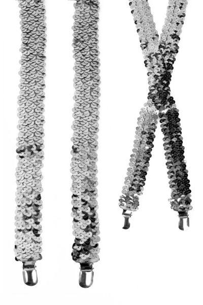 Zilveren pailletten bretels