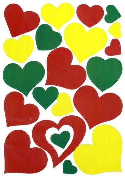 Raamsticker hartjes rood geel groen