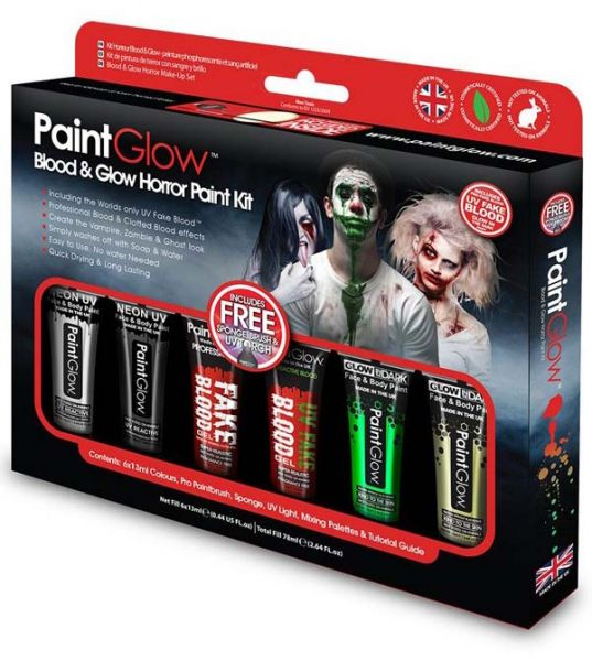 PaintGlow Bloed Glow Horror Halloween schmink kit