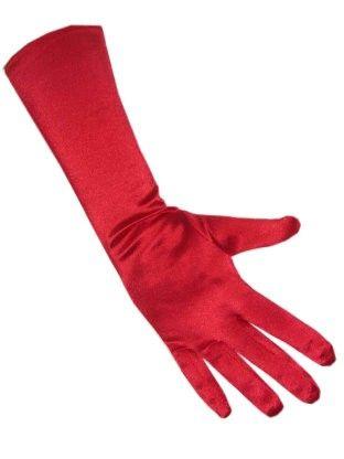 Rode gala handschoenen satijn stretch 40 cm