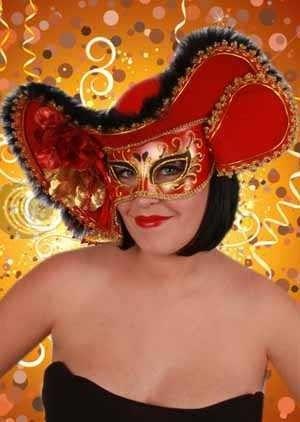 Venetiaanse hoed met oogmasker dame rood