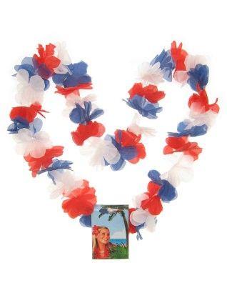 Hawaii halsketting rood - wit - blauw kransen 12 stuks