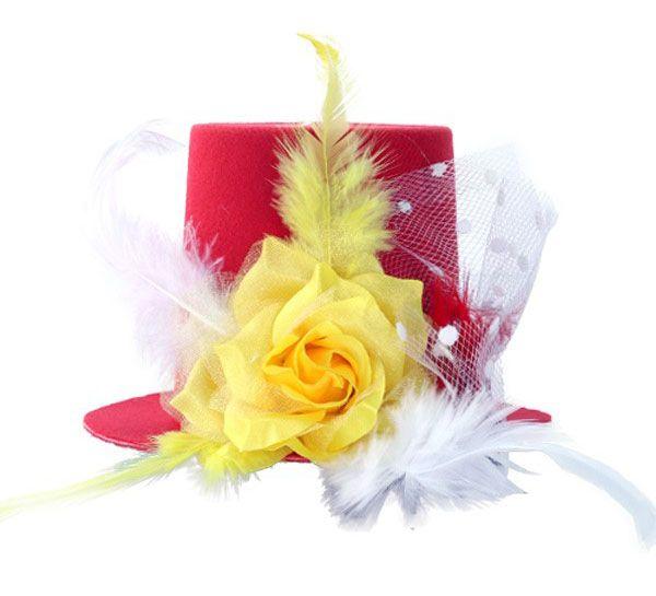 Mini hoedje rood wit geel met roos veren