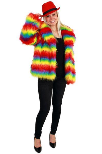 Carnavalsjas Dames Bontjas felle regenboogkleuren