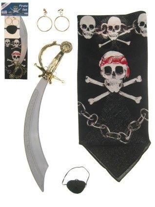 Piraten zakdoek ooglapje oorbellen en zwaard