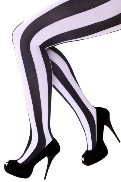 Panty verticale strepen zwart wit