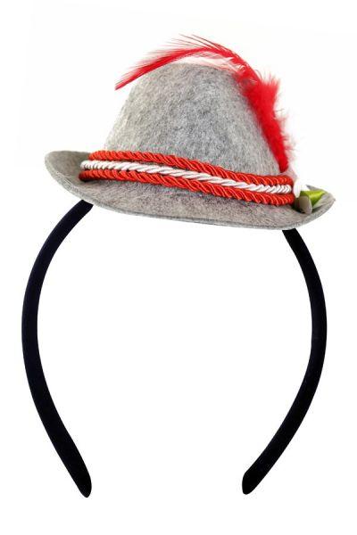 Oktoberfest Mini Tiroler hoedje rood op diadeem