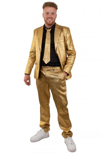 Goud blits discokostuum metallic