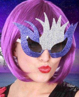 Braziliaanse bril glitterzilver paars