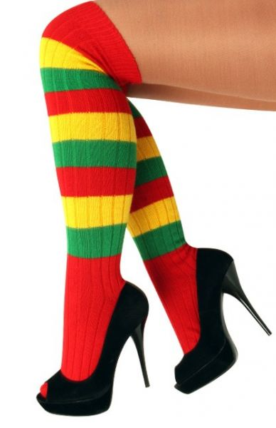 Knee socks red yellow green striped