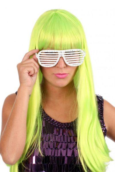 Damespruik trendy lang fluorgroen haar