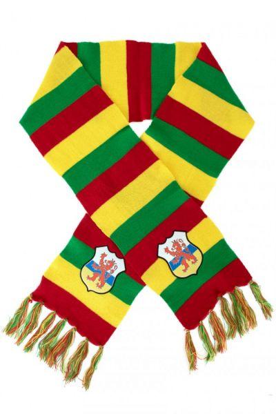 Gebreide sjaal rood geel groen logo Limburgse leeuw