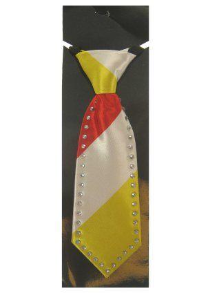 Mini stropdas rood wit geel met Strass-stenen