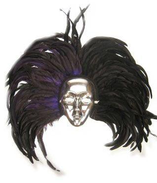 Masker zilver met hoofdtooi zwarte veren