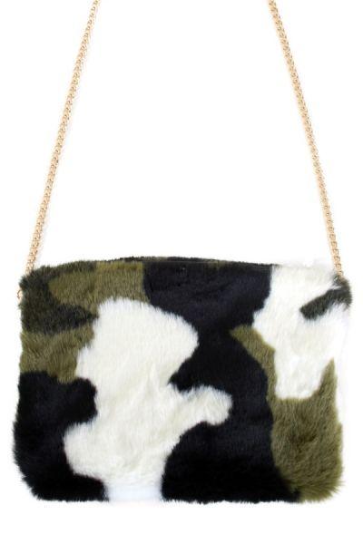 Camouflage schoudertas plushe