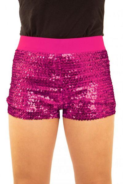 Hotpants met pailletten roze
