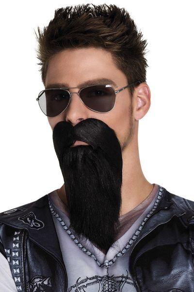 Baard met snor zwart BIKER