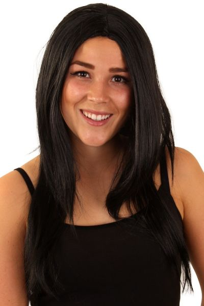 Pruik zwart lang haar