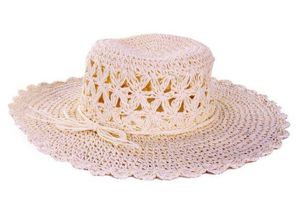 White ladies straw hat