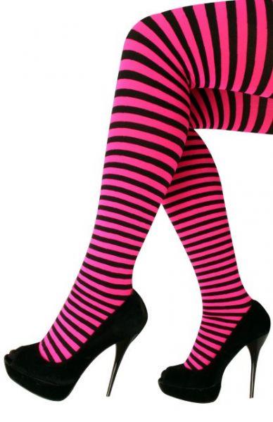 Panty met roze zwarte strepen
