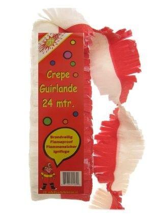 Crêpe Guirlande rood wit brandveilig