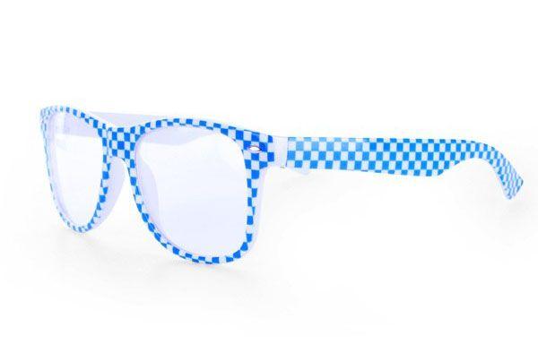 Oktoberfest bril blauw wit geblokt Bayern