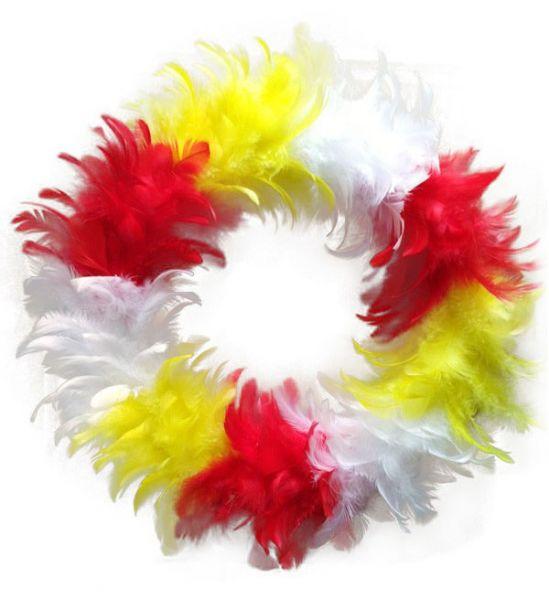 Krans rood wit geel Oeteldonk van veren