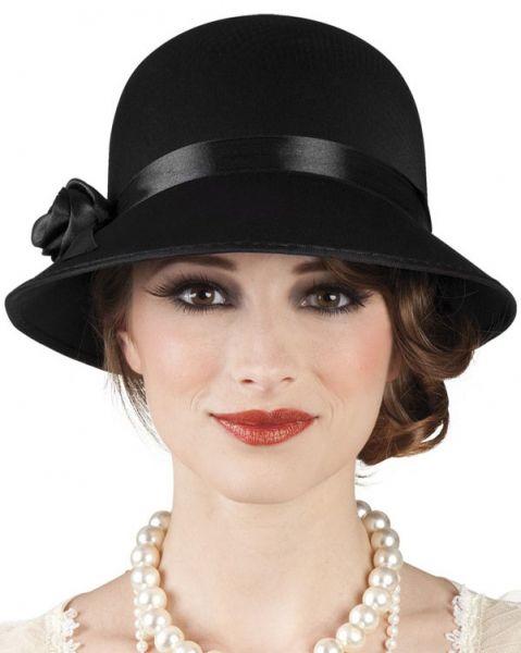 Charleston hoed zwart met roos