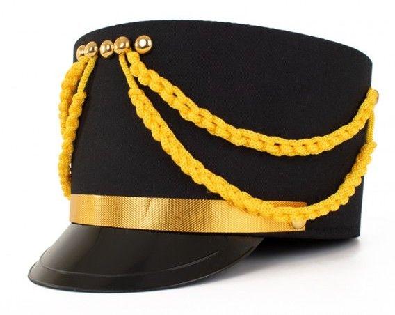 Kolbak fanfare pet zwart met goud