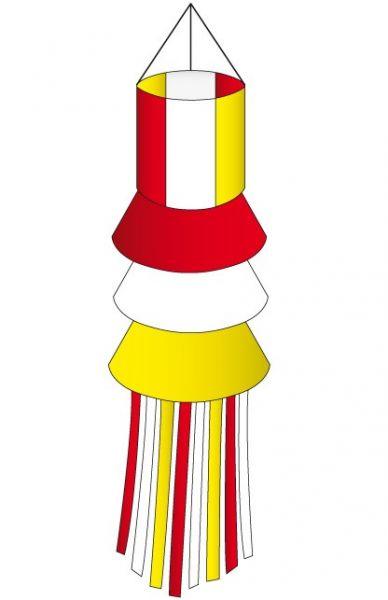 Windsock rood wit geel met slierten Oeteldonk