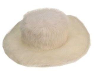 Pimp hoed wit bont plat model