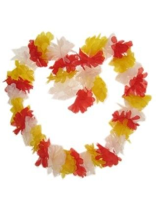 Hawaii halsketting rood - wit - geel slinger Oeteldonk