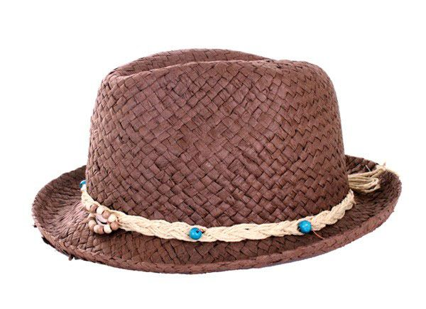 Hippie hoed donker stro opengewerkt met bandje