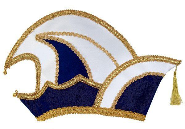 Prins Carnaval steek muts blauw fluweel