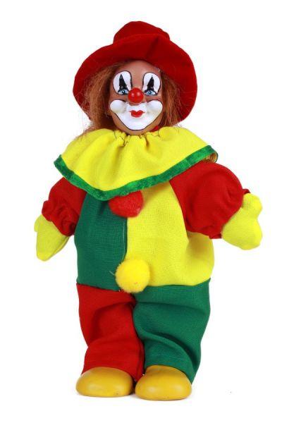 Clownspop met hoed rood geel groen