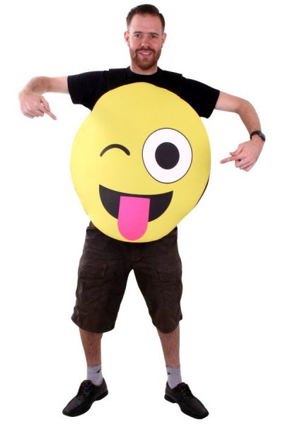 Emoticon smiley met tong kostuum Imoji