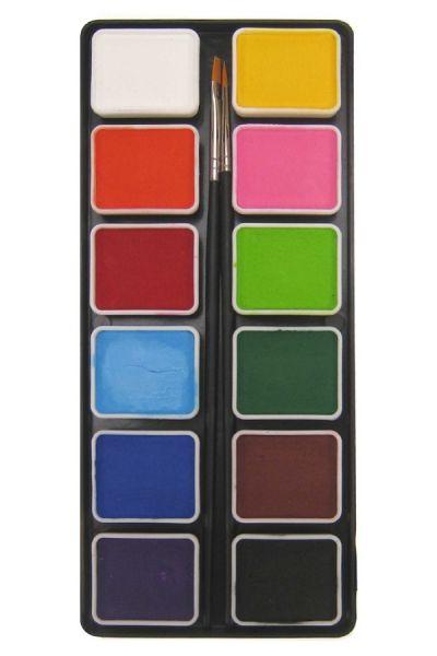 Schminkpallet 12 x 6 gram basiskleuren met 2 penselen