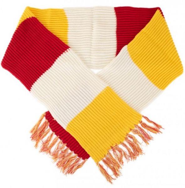 Super grof gebreide sjaal rood wit geel Oeteldonk