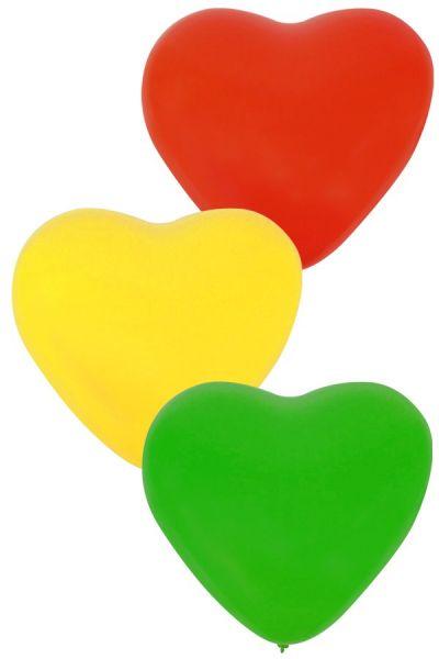 Carnaval Ballon Hart x 36 Rood Geel Groen 32 cm