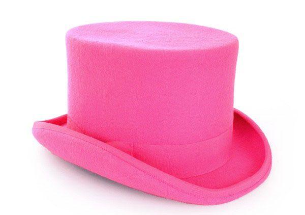 Cilinderhoed wol vilt roze